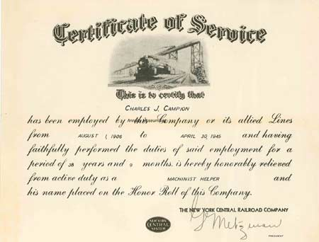 1945 08 4 Certificate Of Service This Is To Certify That