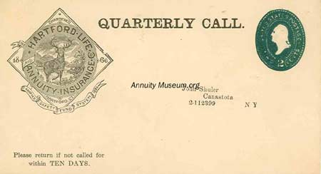 hartford life and annuity insurance co 1880-07- 5 Hartford Life Annuity Insurance Co. 2c postal envelope ...