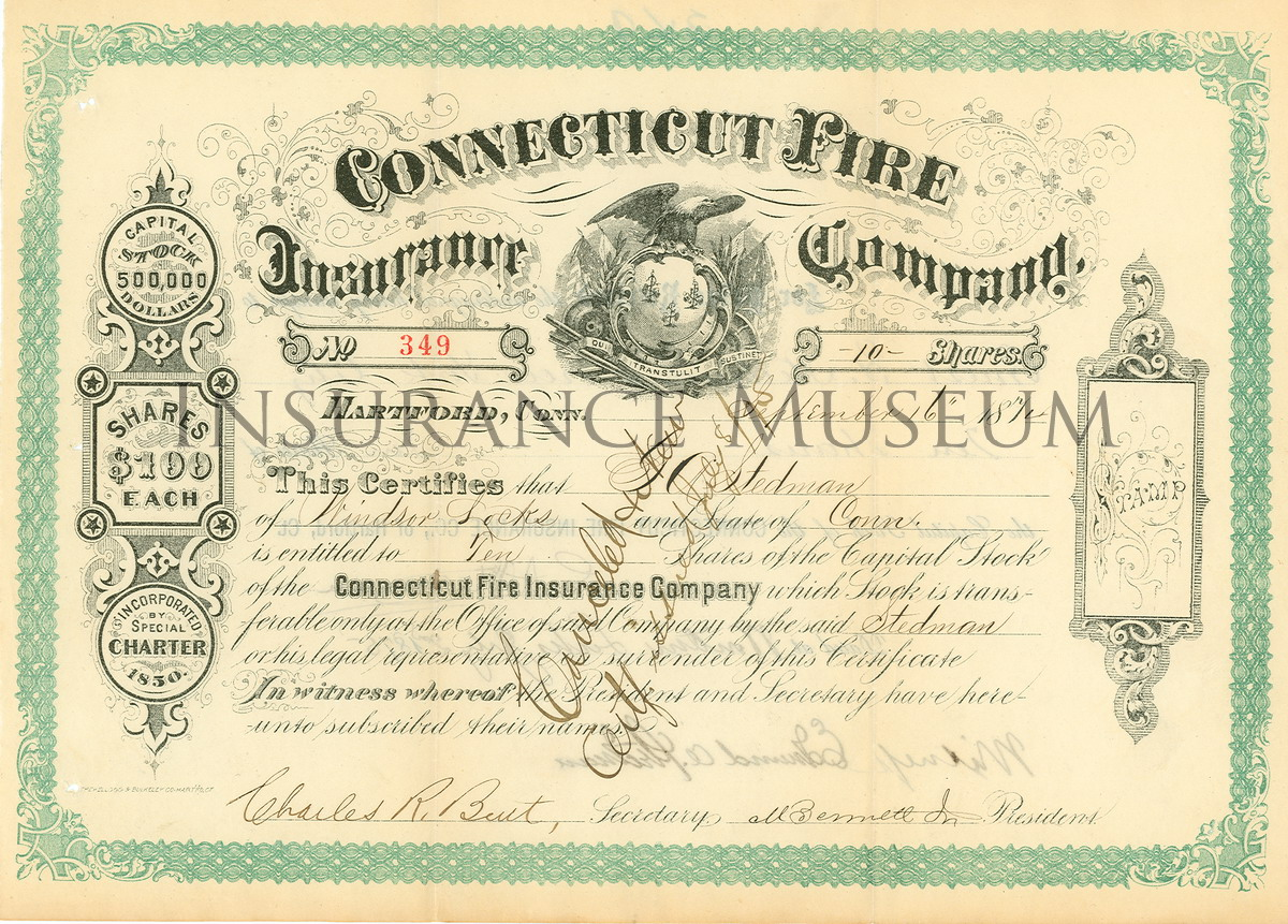 Connecticut Fire Insurance Company 18720916 s and Share – Example of Share Certificate