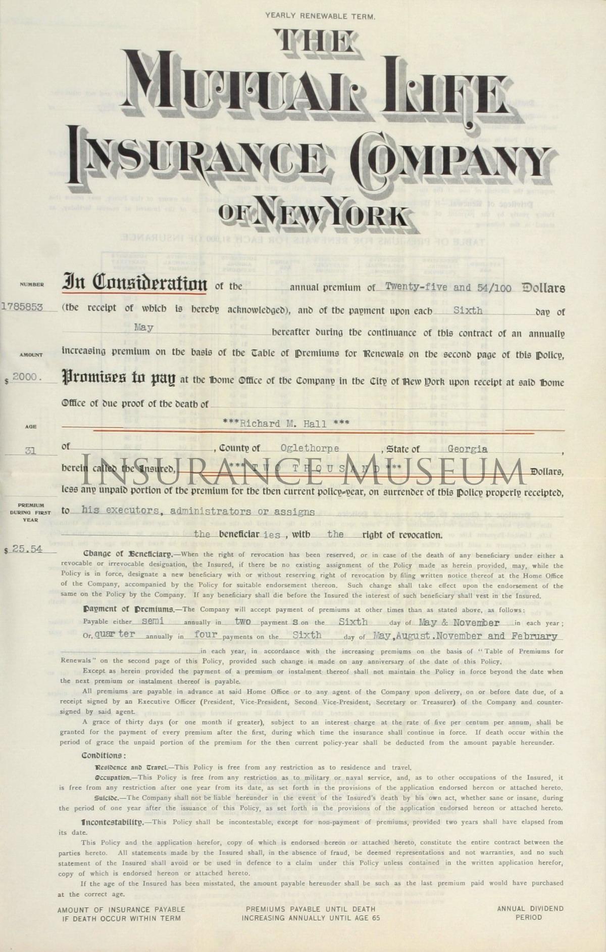 Mutual Life Insurance Company Of New York