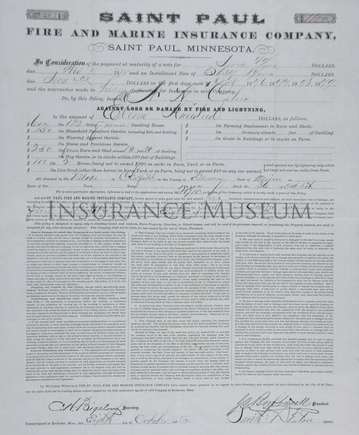 Saint Paul Fire and Marine Insurance Company - 1875-11-01 ...