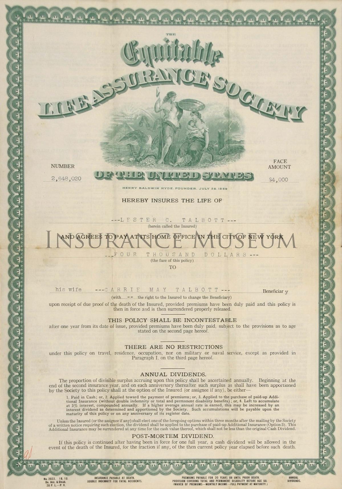 Equitable Life Assurance Society - 1920-07-21 - Policies ...